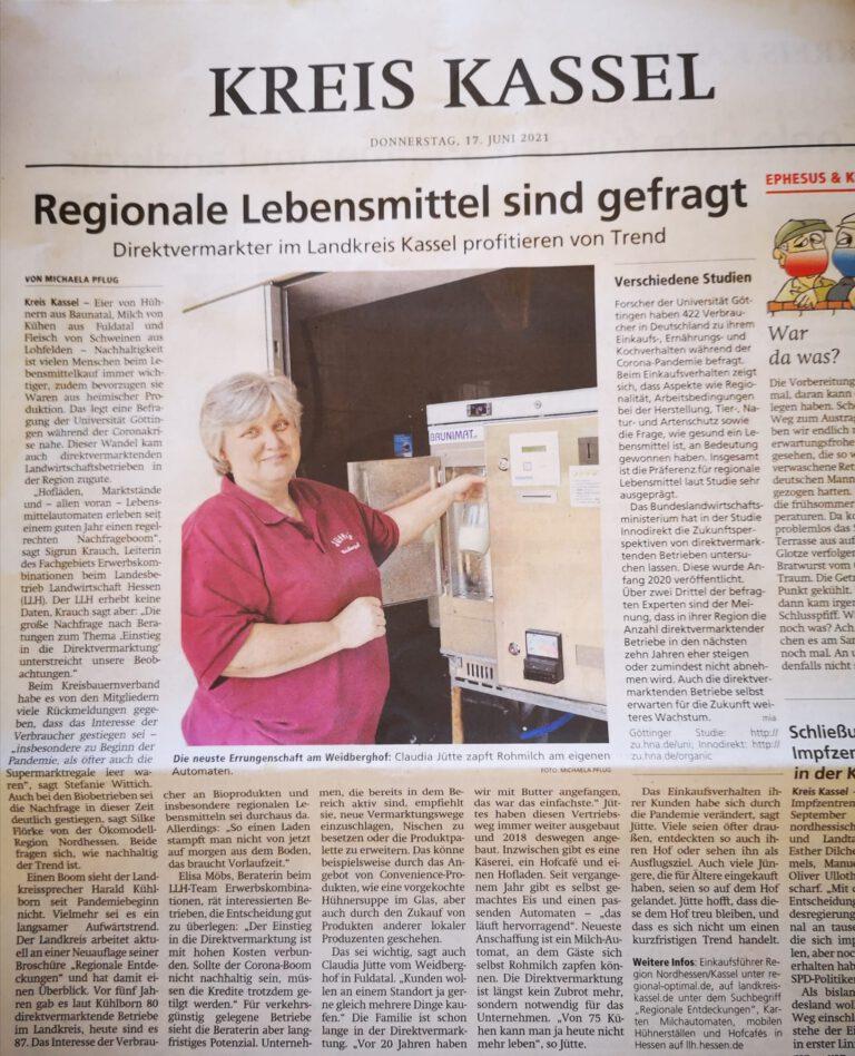 Weidberghof in der Zeitung
